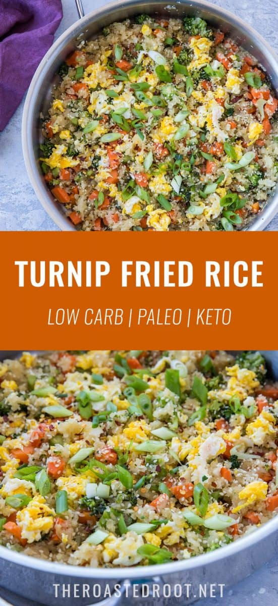 Turnip Fried Rice - a grain-free version of fried rice using turnips! A healthy side dish everyone will enjoy | TheRoastedRoot.net