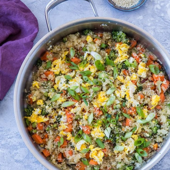 Turnip Fried Rice - a low-carb alternative to traditional fried rice that is paleo, keto, and whole30 | TheRoastedRoot.net #glutenfree #grainfree