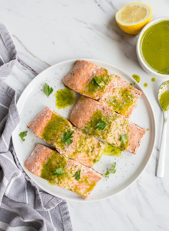 Salmon with Parsley Sauce from Dessert for Two #paleo #whole30 #lowcarb #keto