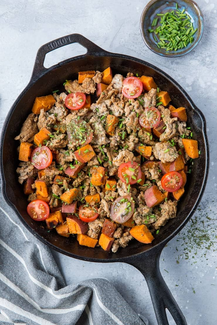 30-Minute Ground Turkey and Sweet Potato Skillet - quick, easy, paleo, keto, whole30, healthy | TheRoastedRoot.net