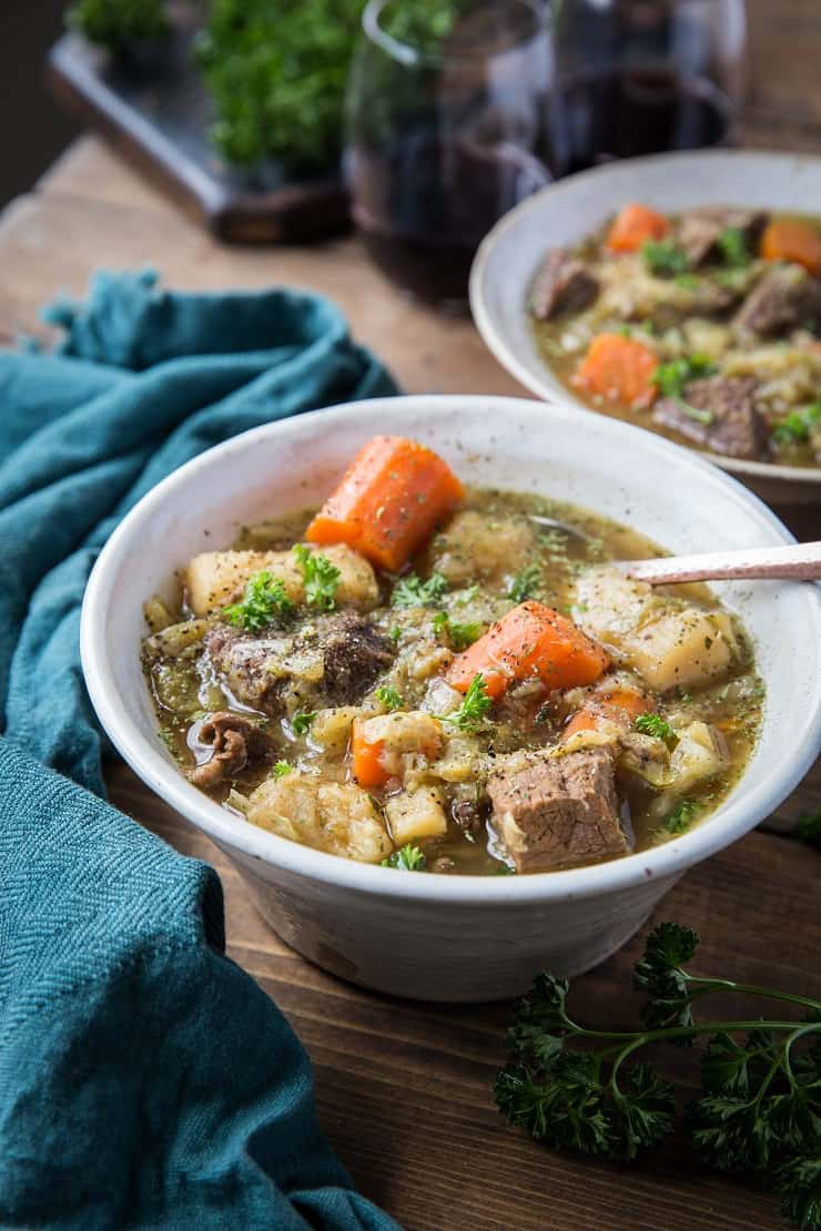 Instant Pot Paleo Irish Beef Stew - a nightshade-free, gluten-free stew recipe that is low-carb, paleo, whole30 recipe | TheRoastedRoot.net