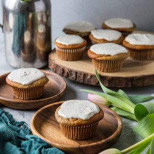 "Paleo Banana Muffins with Vegan ""Cream Cheese"" Frosting - grain-free, refined sugar-free, dairy-free and healthy! 