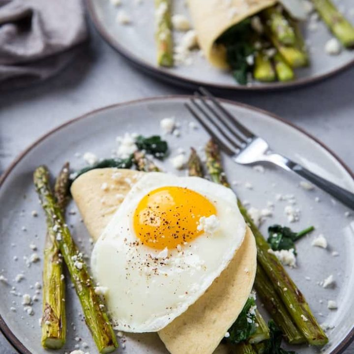 Savory Paleo Crepes with Roasted Asparagus, Spinach, and Feta - grain-free crepes made with almond flour and tapioca flour | TheRoastedRoot.net #glutenfree #breakfast