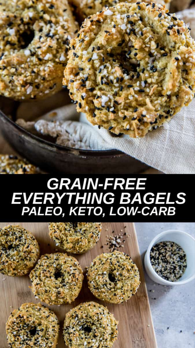 Low-carb keto everything bagels made with almond flour. These tasty bagels are grain-free and so easy to bake!