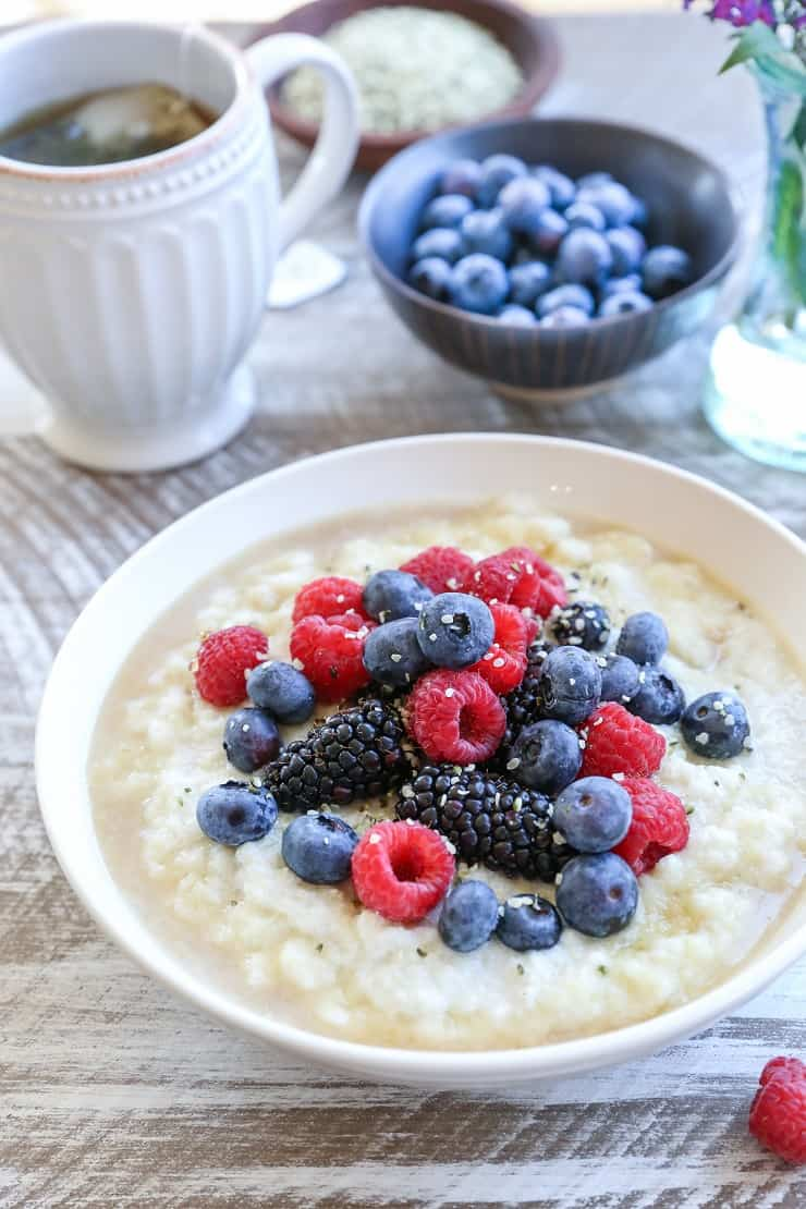 Paleo Cauliflower Breakfast Porridge - grain-free, vegan, dairy-free, plant-based and healthy | TheRoastedRoot.net #glutenfree #breakfast #recipe
