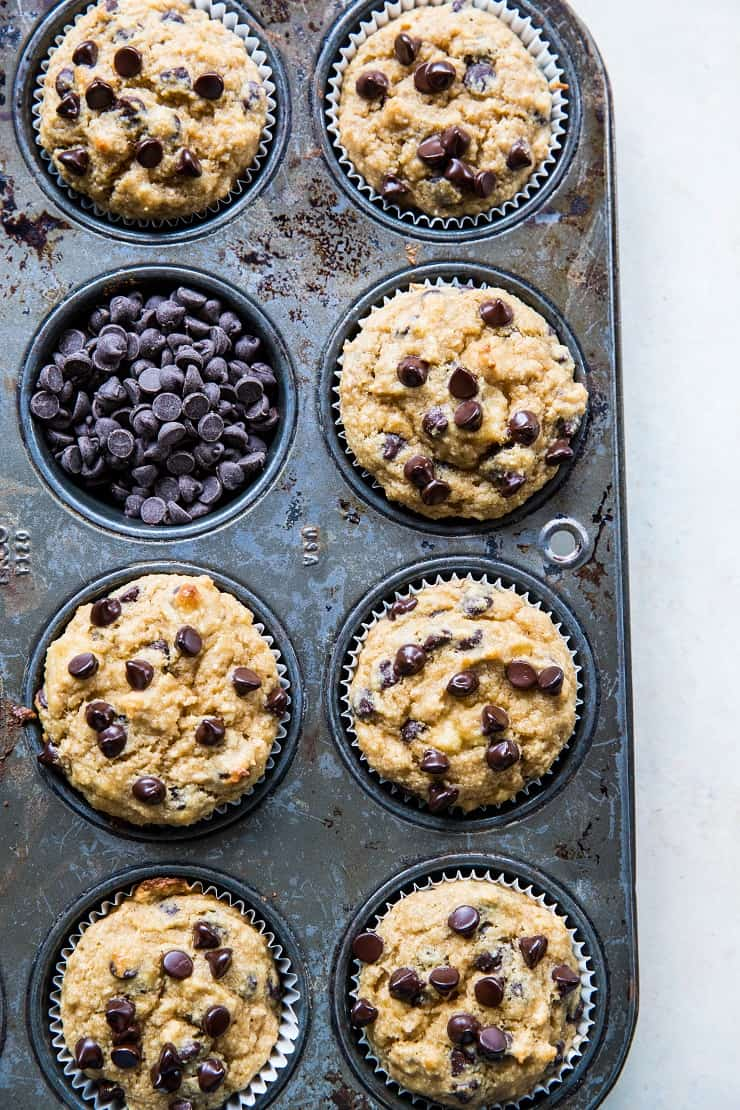 Chocolate Chip Paleo Vegan Banana Muffins - grain-free, refined sugar-free, healthy muffin recipe | TheRoastedRoot.net