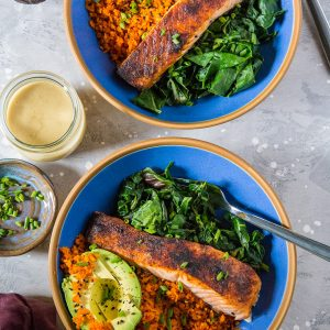 "Salmon Bowls with Avocado, Carrot ""Rice"" Sauteed Rainbow Chard and Wasabi Sauce - an easy paleo, keto meal that can be made any night of the week 