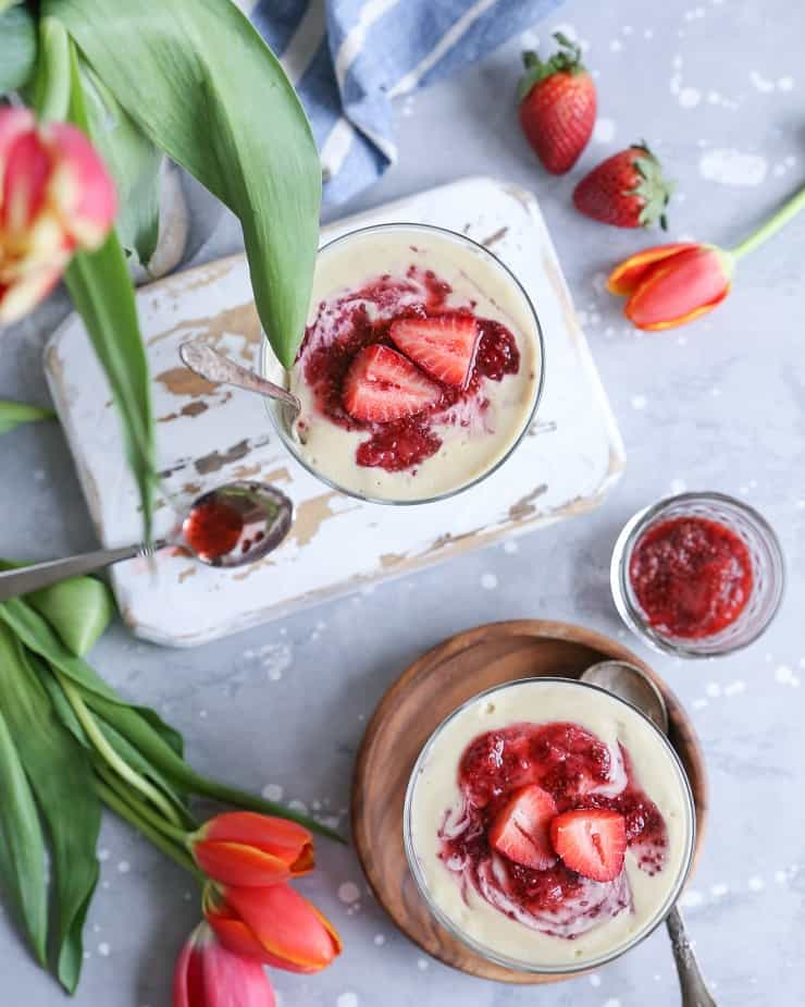 Vegan Strawberry Cheesecake Jars - dairy-free, paleo, healthy dessert recipe perfect for sharing with friends and family | TheRoastedRoot.net