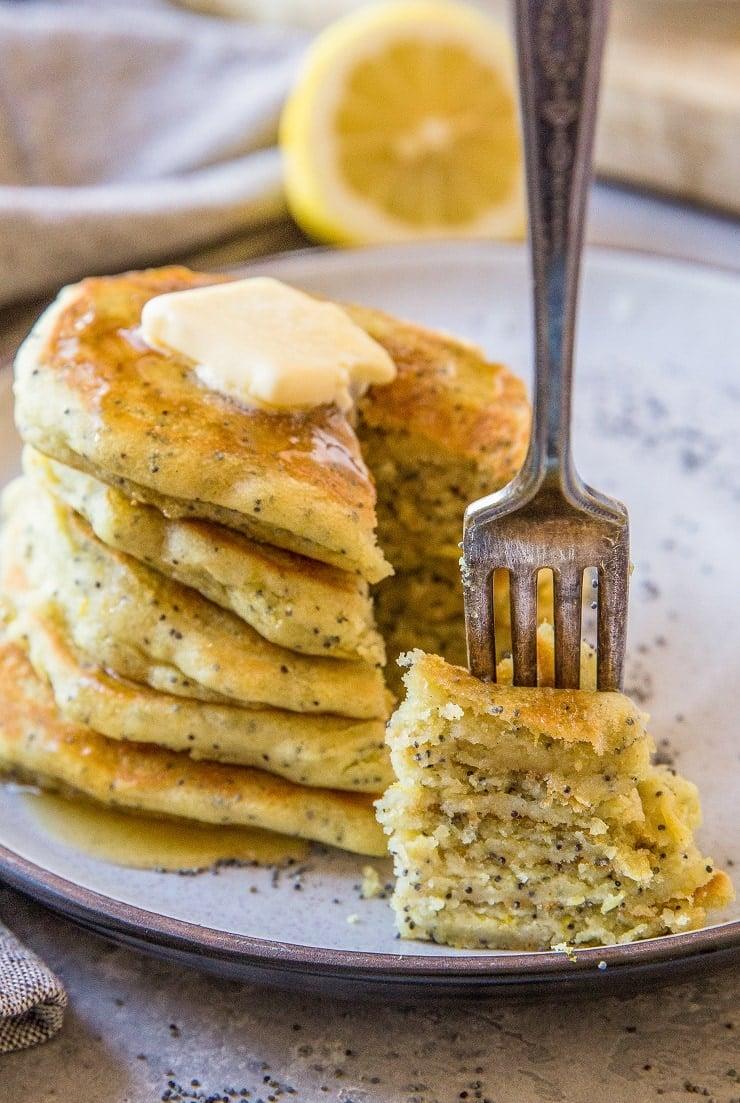 Vegan Gluten-Free Lemon Poppy Seed Pancakes - dairy-free, egg-free easy pancake recipe