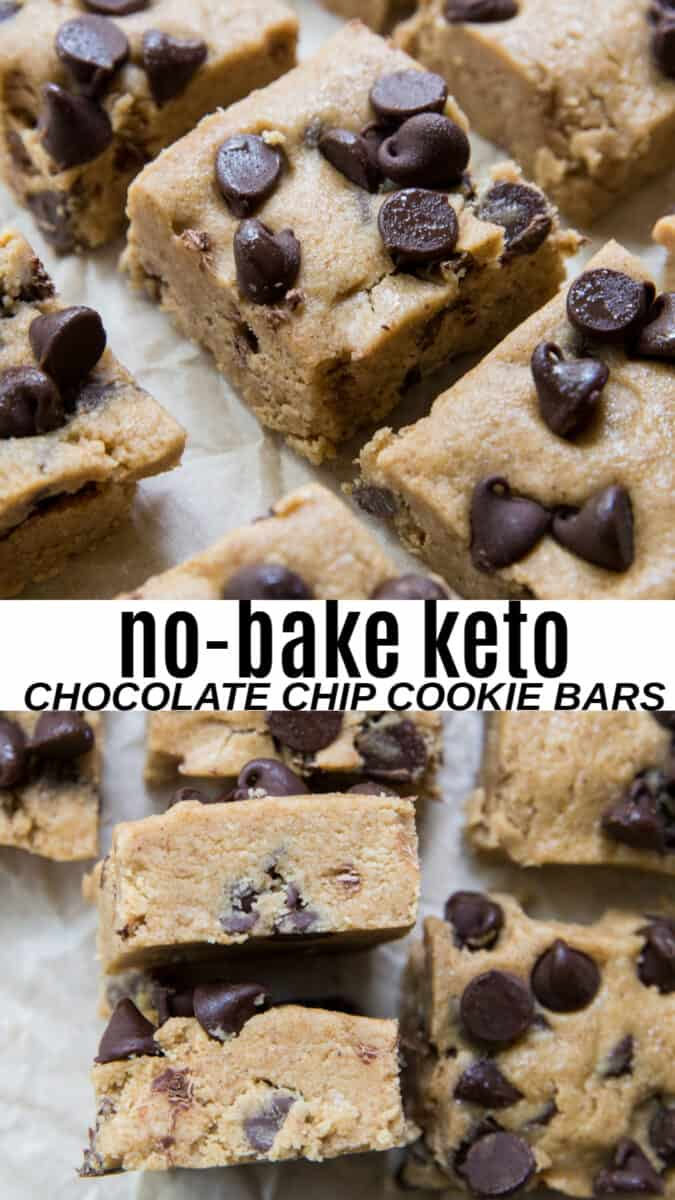 No-Bake Keto Chocolate Chip Cookie Bars - grain-free refined sugar-free cookie bar recipe for a low-carb dessert #glutenfree
