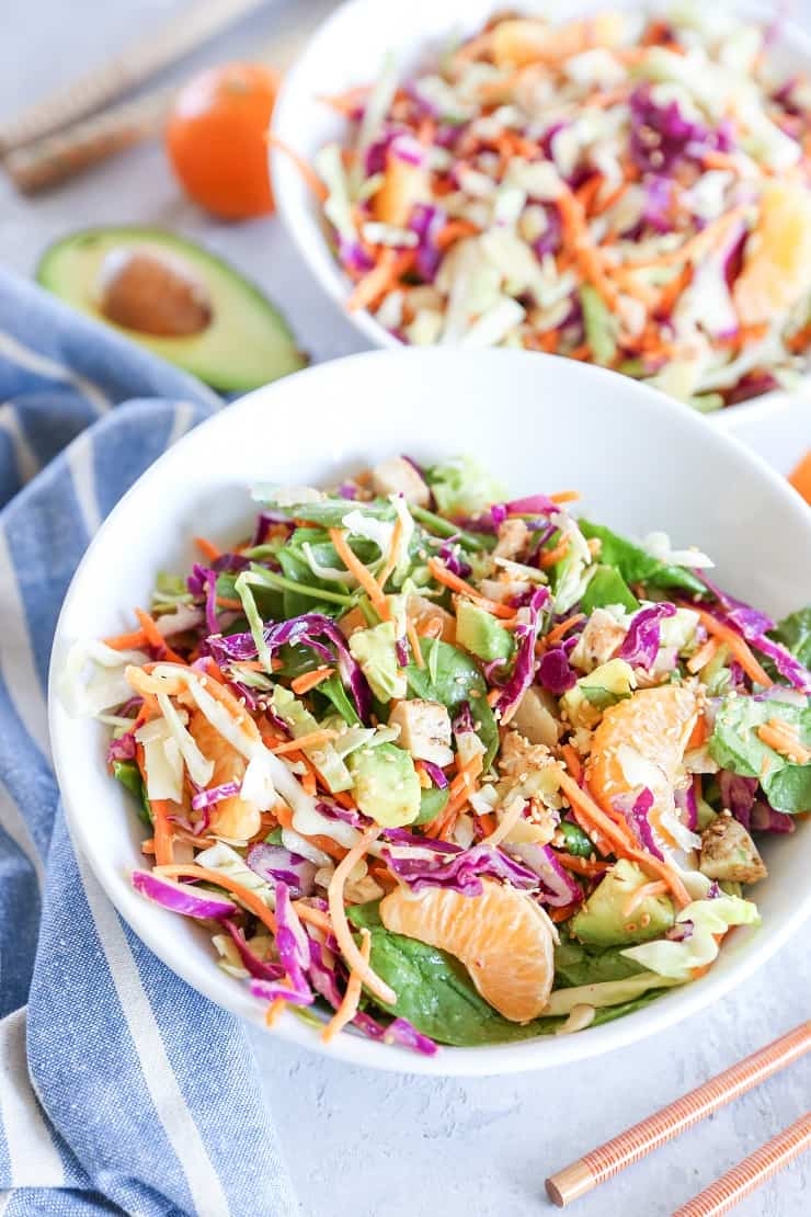 Paleo Chinese Chicken Salad with spinach and soy-free sesame ginger dressing