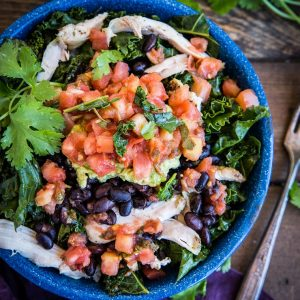 Chicken Burrito Bowls with Black Beans and Kale - an easy, healthy dinner recipe | TheRoastedRoot.net #healthy #dinnerrecipe