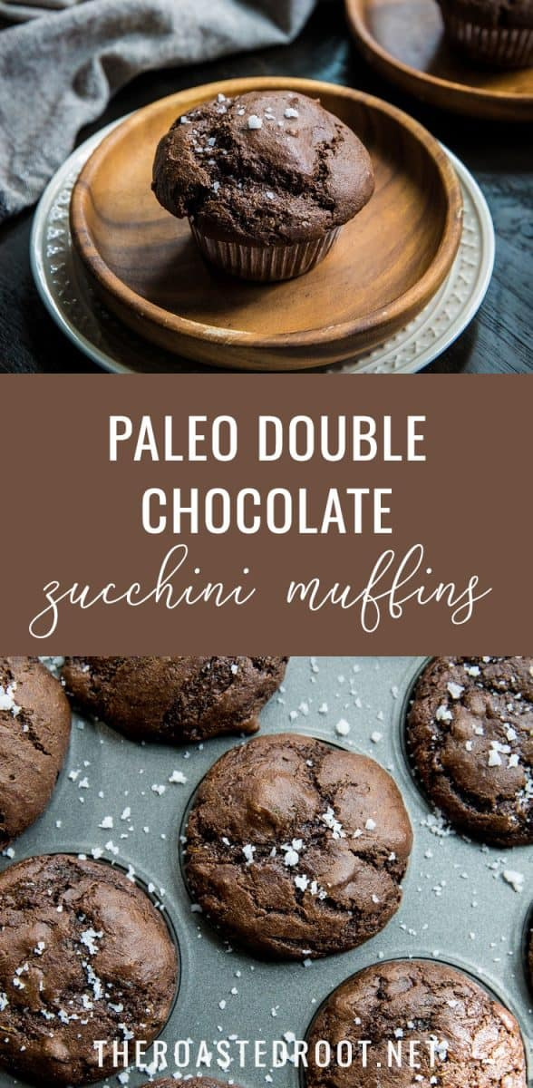 Paleo Double Chocolate Zucchini Muffins made with almond flour and pure maple syrup - a healthy and delicious treat! | TheRoastedRoot.net