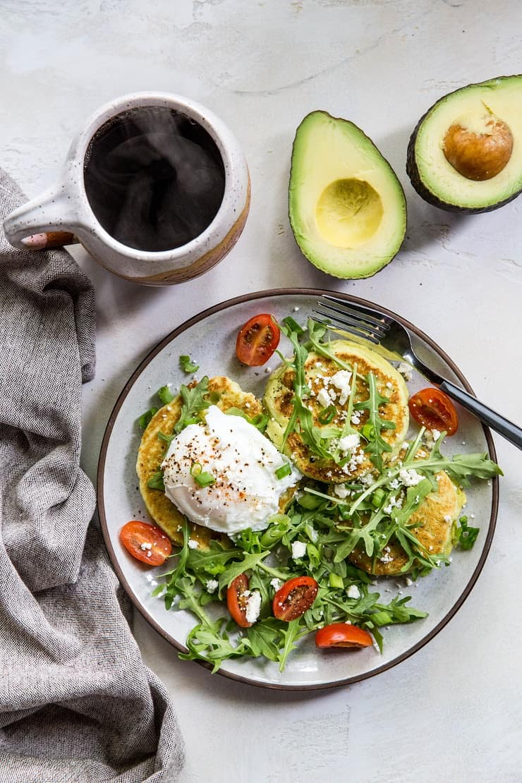 Grain-Free Avocado Pancakes - paleo pancakes made with almond flour, almond milk, eggs, and avocado - an easy and delicious savory pancake recipe | TheRoastedRoot.net #paleo