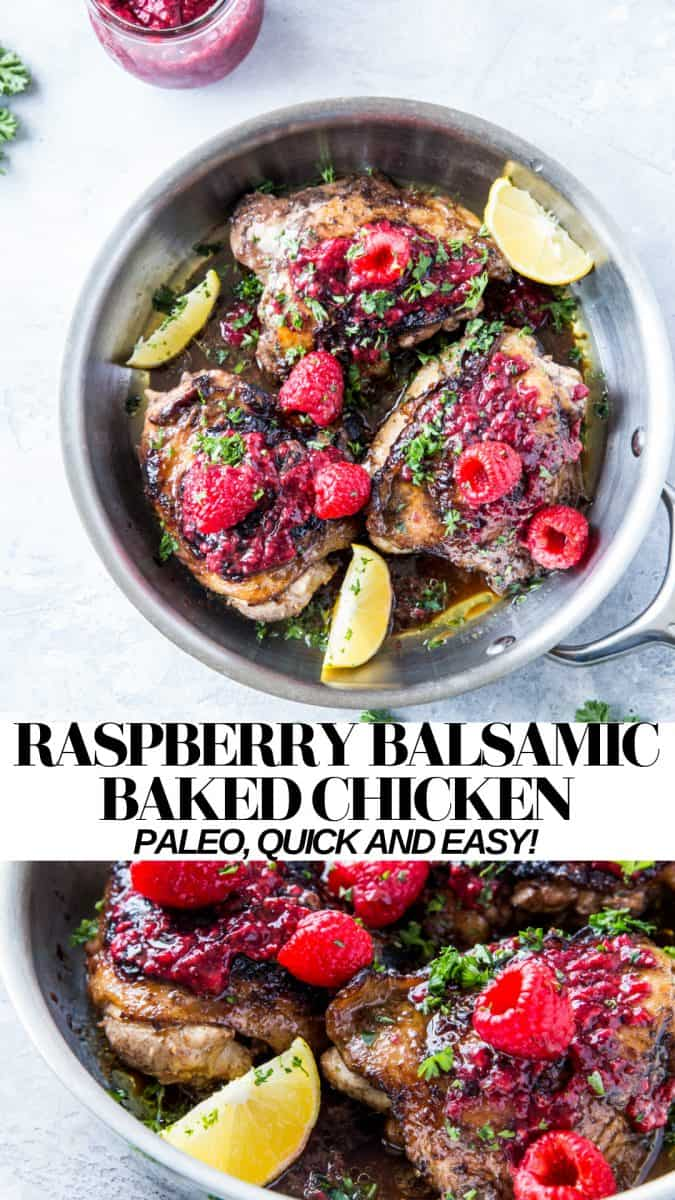 Raspberry Balsamic Chicken - an easy, healthy dinner recipe that can be made using homemade or store-bought jam #glutenfree #whole30 #lowcarb #paleo #dinnerrecipe #chickenrecipe