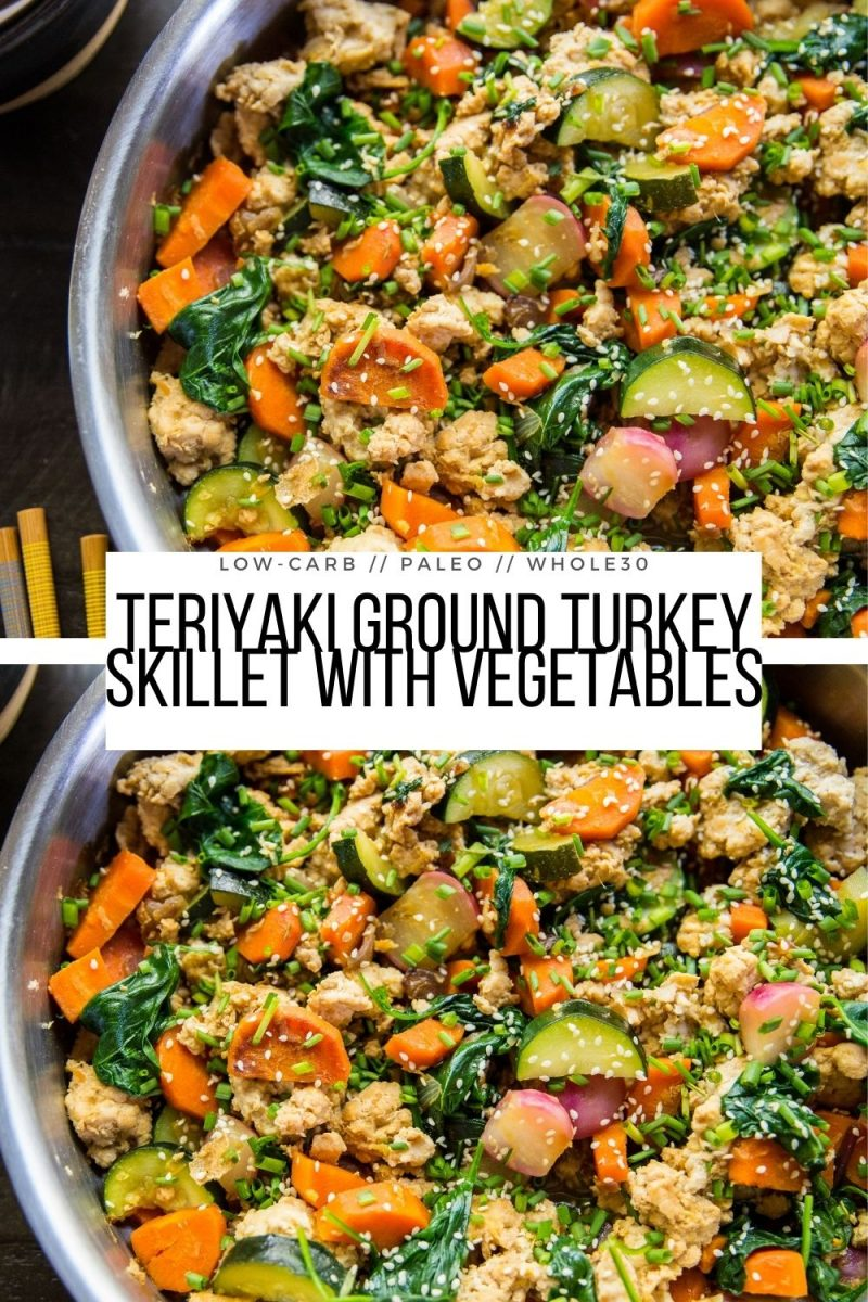 Teriyaki Ground Turkey Skillet with Vegetables - a quick and easy healthy dinner recipe ready in 45 minutes or less! Paleo, whole30, clean, low-carb and delicious!