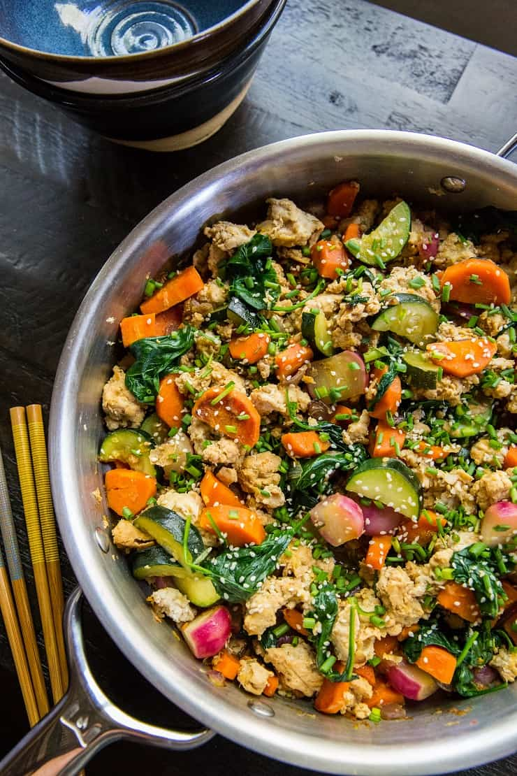 Teriyaki Ground Turkey Skillet with Vegetables - an easy, low-carb, paleo, keto dinner recipe ready in under 45 minutes | TheRoastedRoot.net