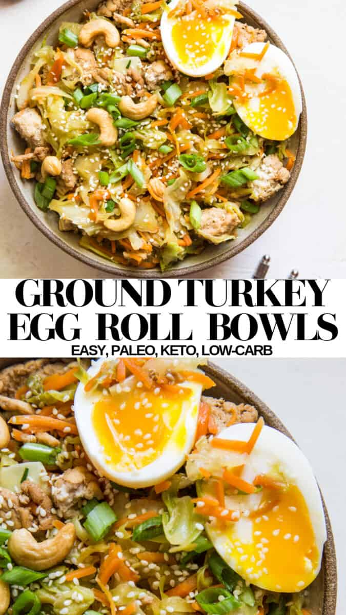 Ground Turkey Egg Roll Bowls - easy to make, paleo, keto, low-carb healthy dinner recipe