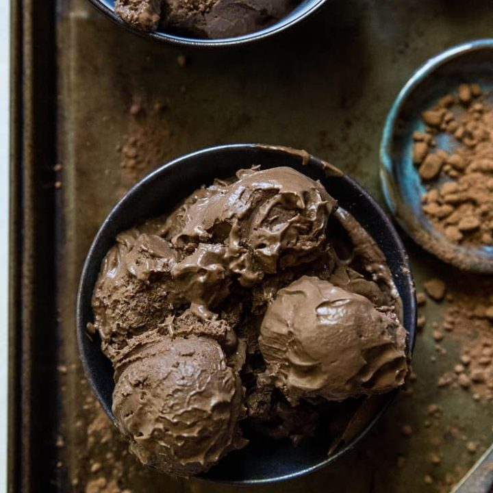 Keto Chocolate Ice Cream - paleo, vegan, dairy-free chocolate ice cream made with avocados. This easy no churn recipe only requires a blender or food processor. | TheRoastedRoot.net