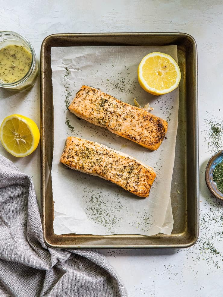 Lemon Herb Salmon - healthy paleo, keto, whole30 dinner recipe | TheRoastedRoot.net