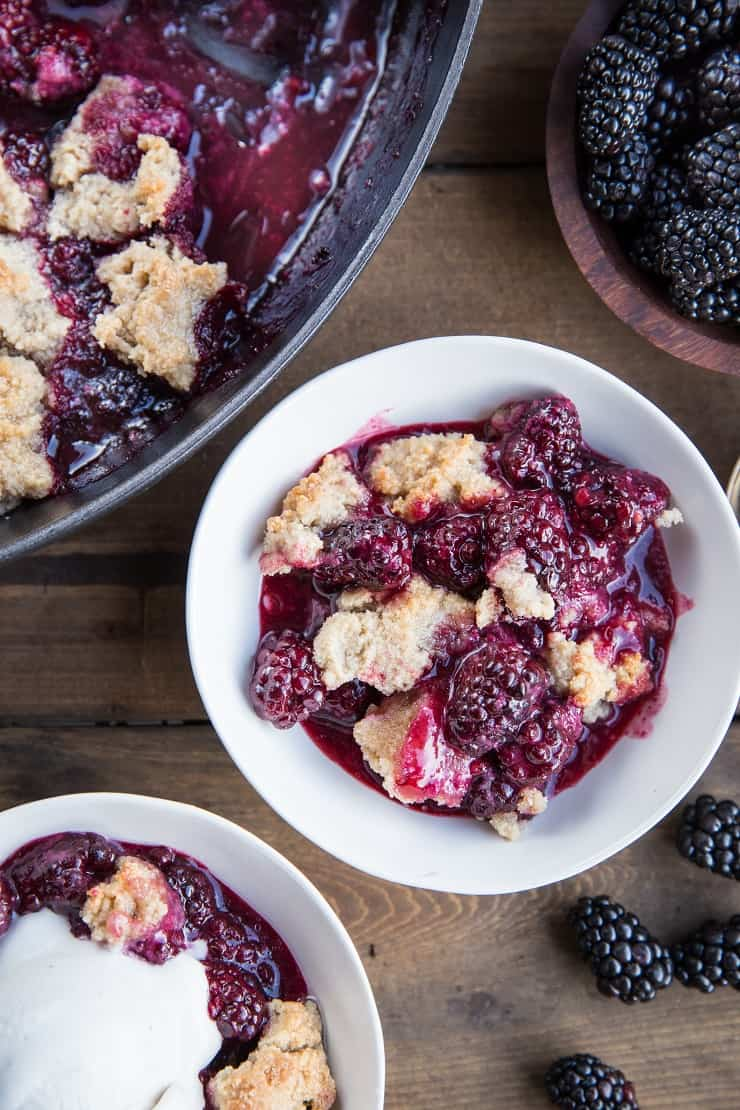 Paleo Blackberry Cobbler recipe made with almond flour and pure maple syrup - grain-free, vegan, dairy-free, refined sugar-free and easy to make | TheRoastedRoot.net
