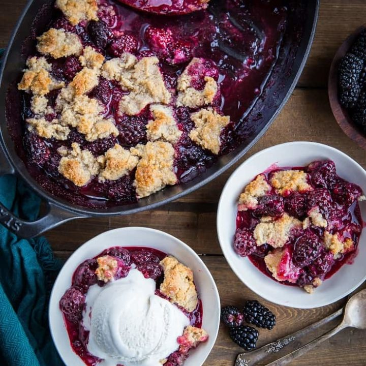Paleo Blackberry Cobbler recipe - grain-free, refined sugar-free, dairy-free, vegan and delicious | TheRoastedRoot.net