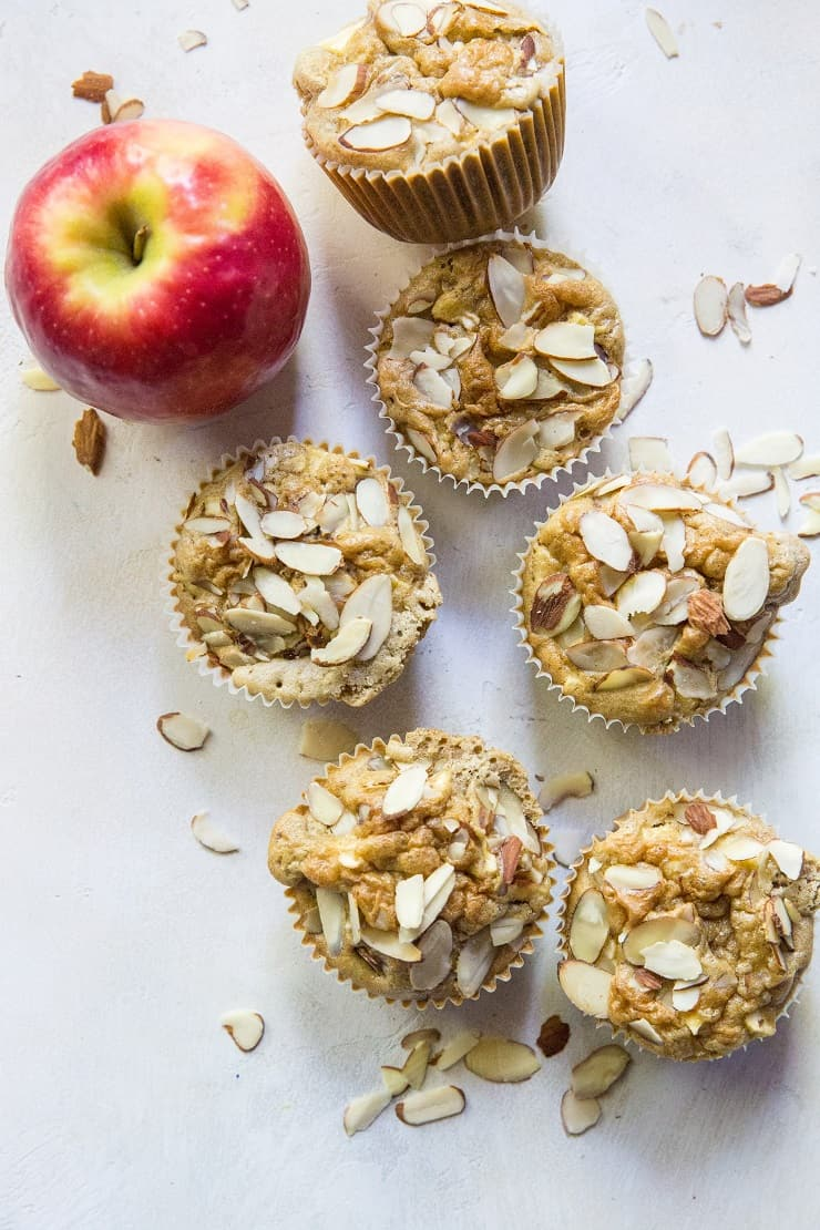Paleo Apple Cinnamon Muffins - grain-free, refined sugar-free muffins made with coconut flour | TheRoastedRoot.net