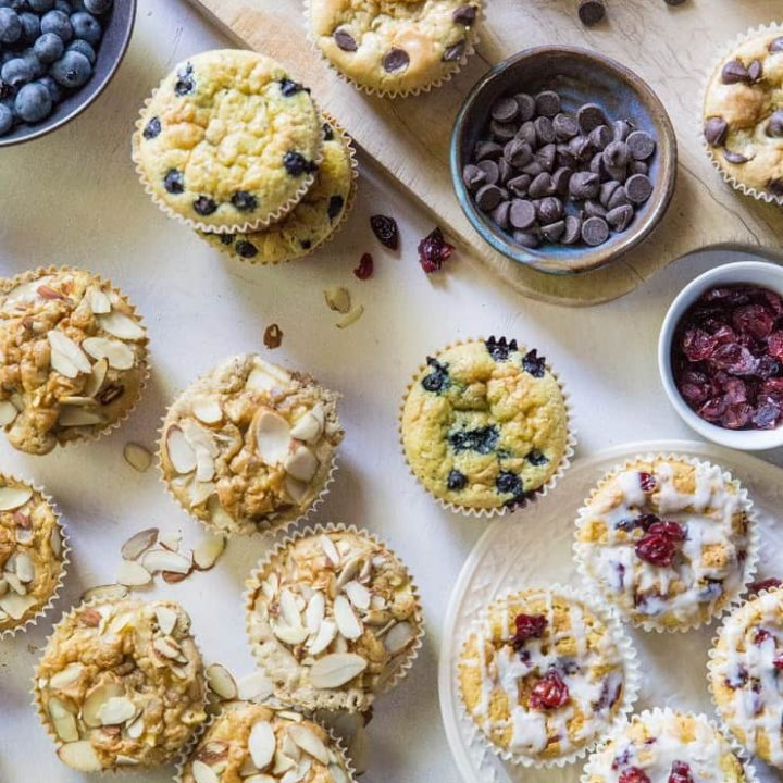 Grain-Free Paleo Coconut Flour Muffins - an easy gluten-free muffin recipe made in a blender using coconut flour and pure maple syrup. 4 different muffin flavors are included in this recipe!   TheRoastedRoot.net