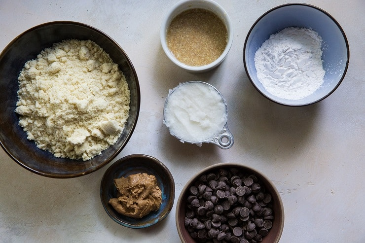 Ingredients for paleo vegan chocolate chip cookies