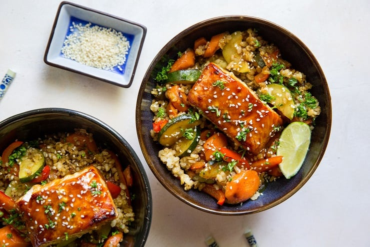 Teriyaki Salmon Bowls with teriyaki stir fry vegetables and rice - a healthy well-balanced meal that is easy to prepare. | TheRoastedRoot.net #glutenfree