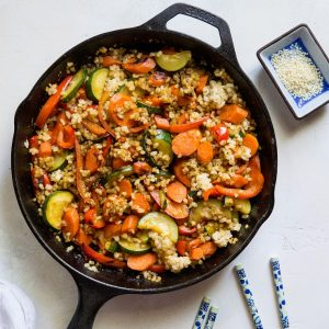 Teriyaki Stir Fry Vegetables with Rice - an easy healthy side dish | TheRoastedRoot.net