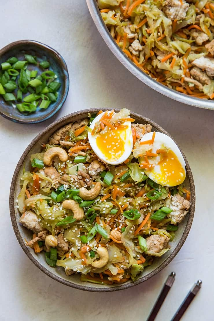 Ground Turkey Egg Roll Bowls - paleo, keto, low-carb, whole30 healthy dinner recipe that is quick and easy to make! | TheRoastedRoot.net #glutenfree #healthy #recipe