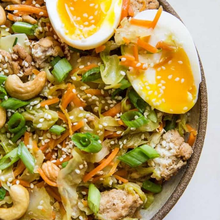 Ground Turkey Egg Roll Bowls - a deconstructed egg roll in a bowl - healthy dinner recipe that is paleo, low-carb, whole30   TheRoastedRoot.net