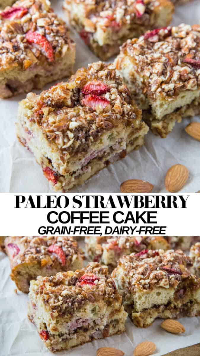Paleo strawberry coffee cake is an amazing breakfast or snack! Grain-free, refined sugar-free, and dairy-free, this beautiful lump of lovin' is perfect for the whole family.
