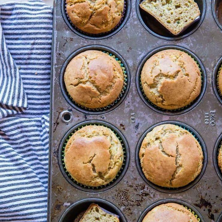 Coconut Flour Zucchini Muffins - paleo zucchini muffins made grain-free, refined sugar-free and dairy-free   TheRoastedRoot.net #glutenfree