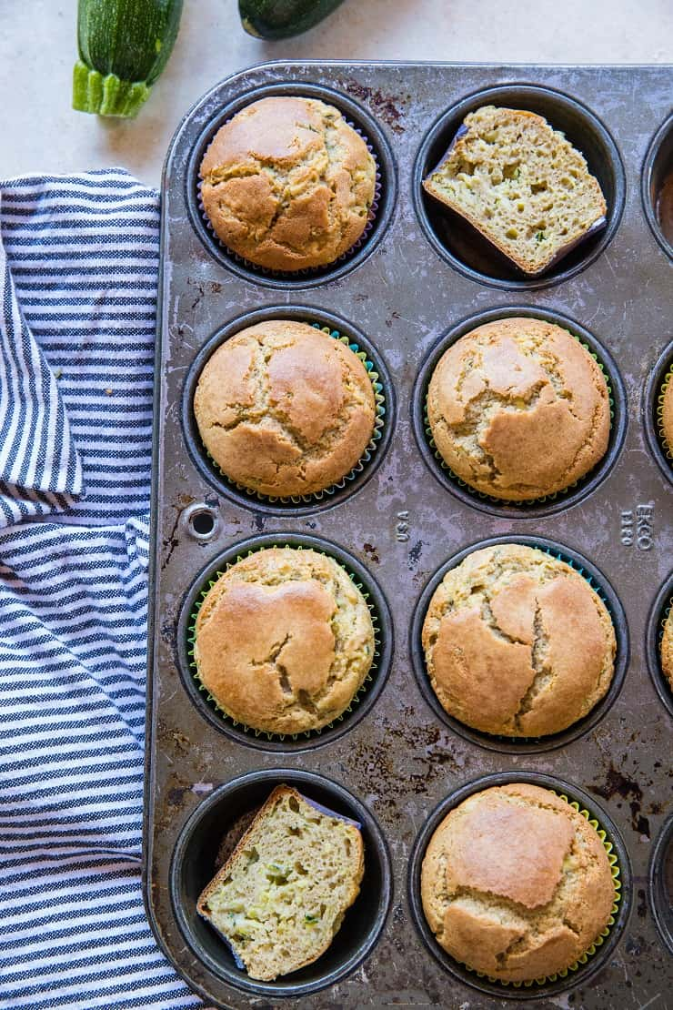 Coconut Flour Zucchini Muffins - paleo zucchini muffins made grain-free, refined sugar-free and dairy-free | TheRoastedRoot.net #glutenfree