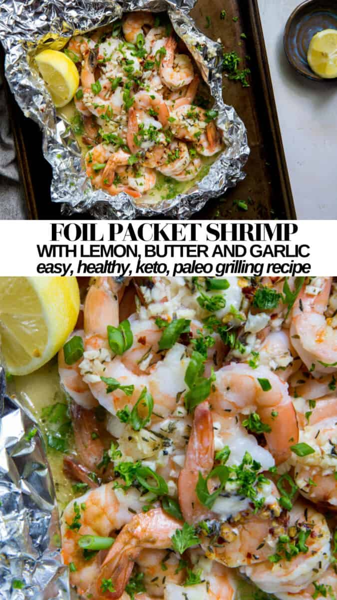 Lemon Butter Garlic Foil Packet Shrimp - an easy, delicious paleo, keto grilling recipe - includes instructions for the oven!