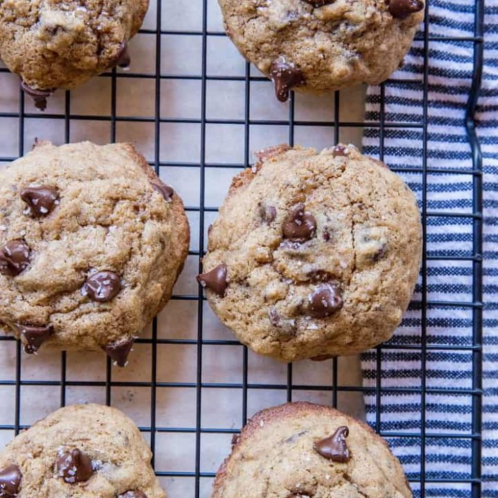 The best ever gluten-free chocolate chip cookies made with coconut sugar and gluten-free flour. These perfect cookies are indistinguishable from cookies made with wheat flour | TheRoastedRoot.net