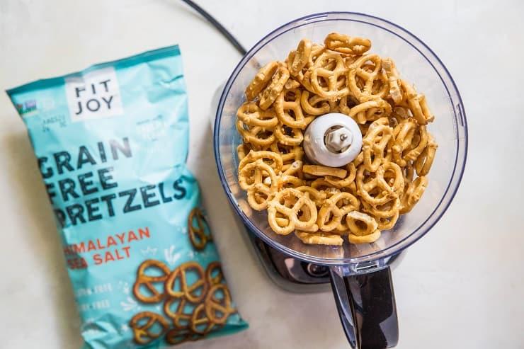 Crispy Baked Chicken with grain-free pretzels