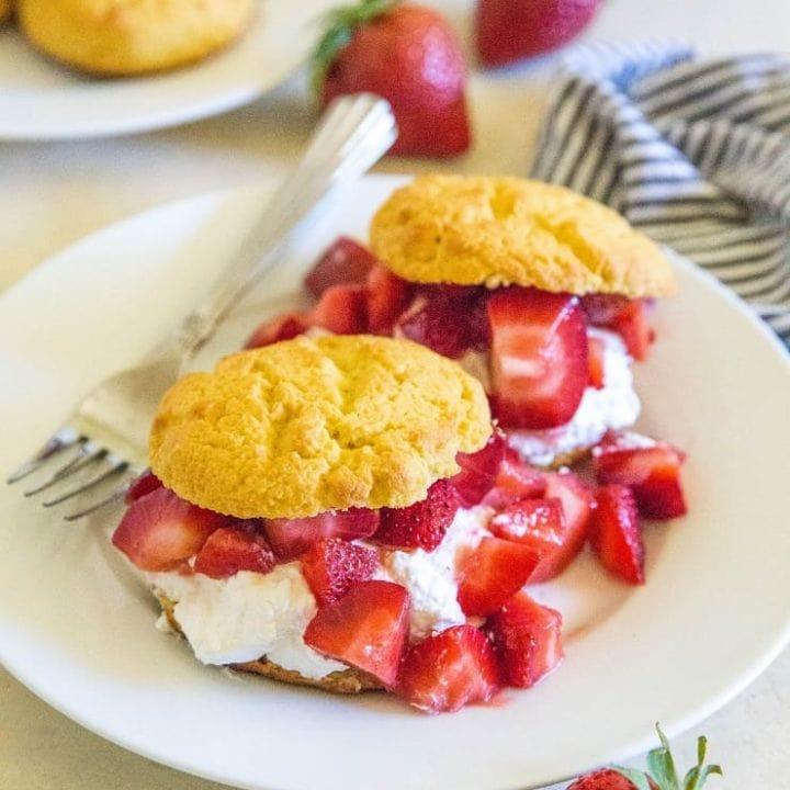 Low-Carb Strawberry Shortcake - a low-sugar keto dessert recipe | TheRoastedRoot.net