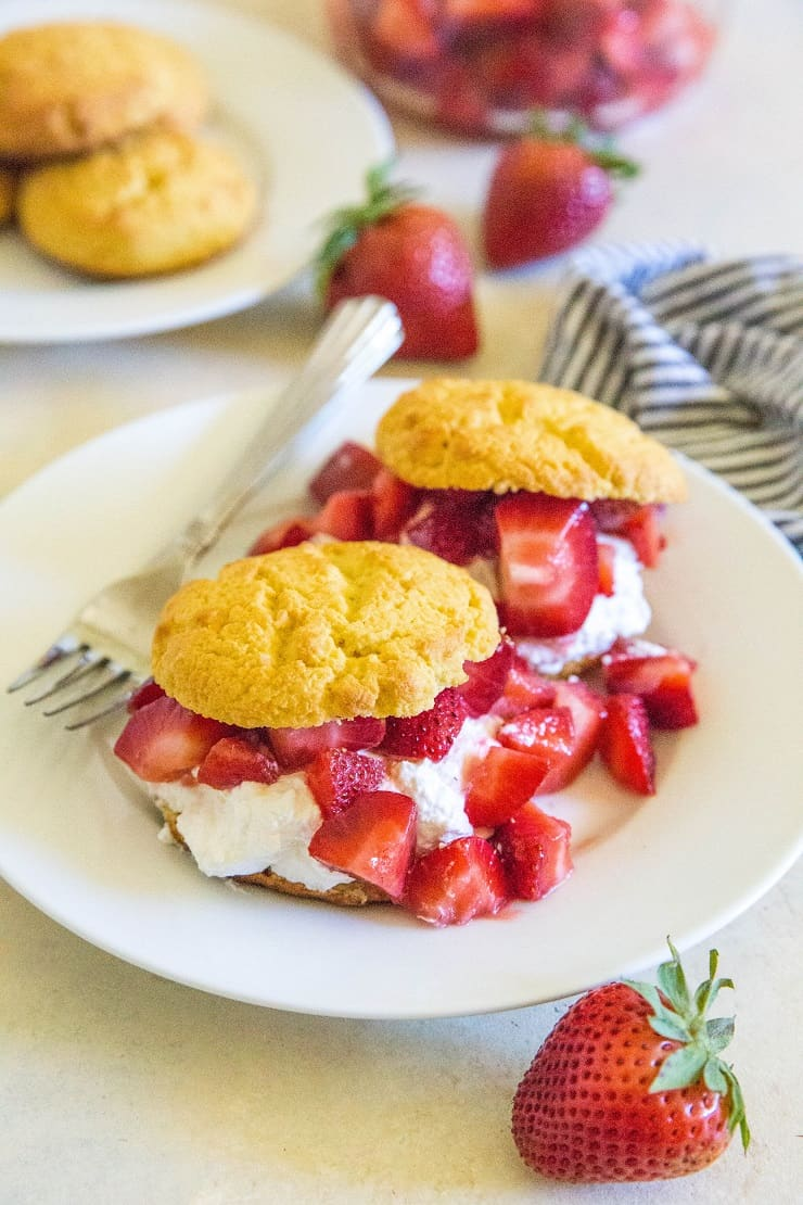 Grain-Free Strawberry Shortcake - a low-sugar keto dessert recipe | TheRoastedRoot.net