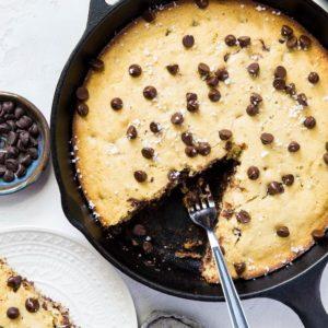 Paleo Chocolate Chip Coconut Flour Skillet Cookie - grain-free, refined sugar-free | TheRoastedRoot.net