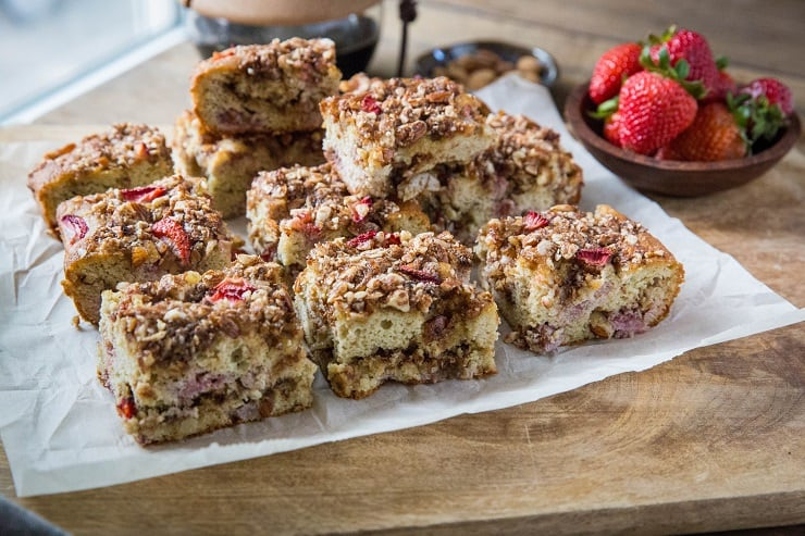 Coconut Flour Paleo Coffee Cake with Strawberries - grain-free, gluten-free, refined sugar-free   TheRoastedRoot.net #breakfast