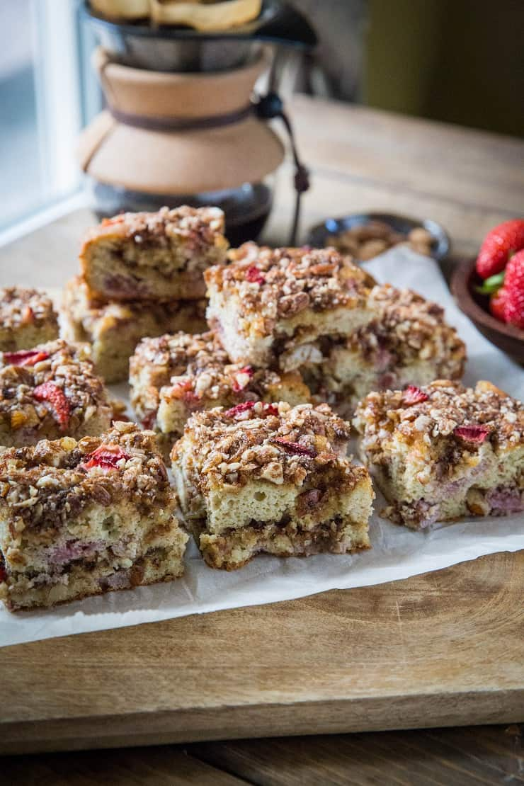 Grain-Free Coffee Cake with Strawberries - paleo coffee cake made with coconut flour, almond streusel topping and sweetened with pure maple syrup and coconut sugar   TheRoastedRoot.net #glutenfree