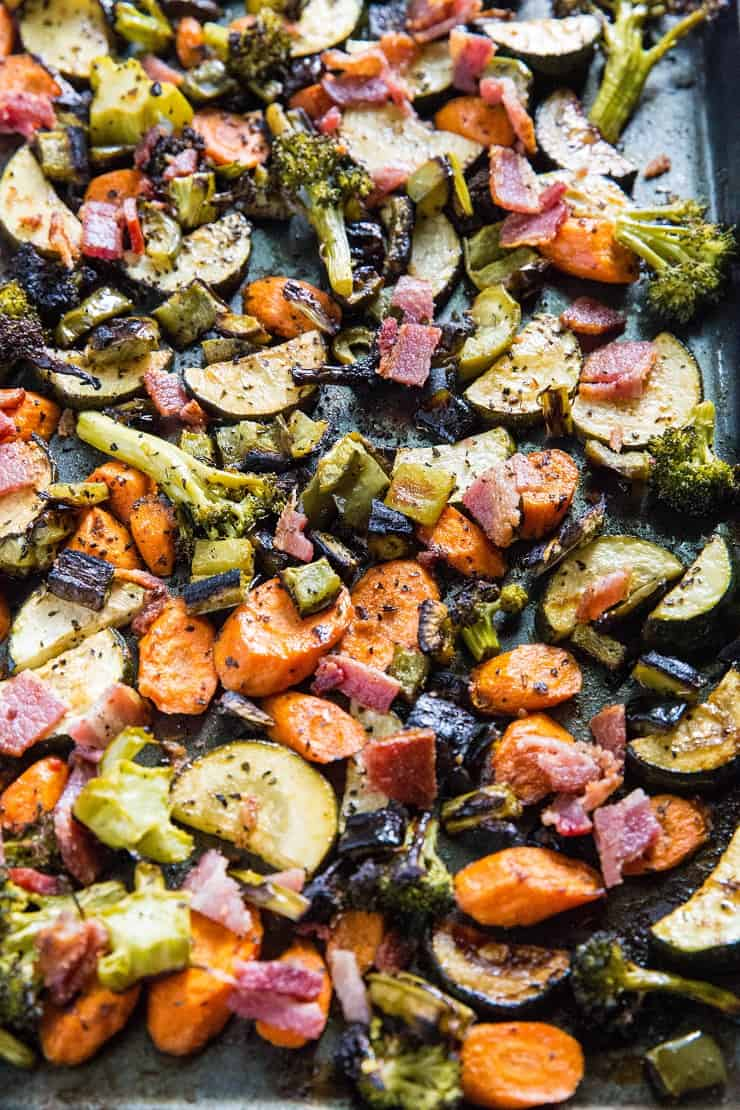 Balsamic Roasted Vegetables with Bacon - an easy, healthy side dish that happens to be paleo, low-carb, and whole30 | TheRoastedRoot.net