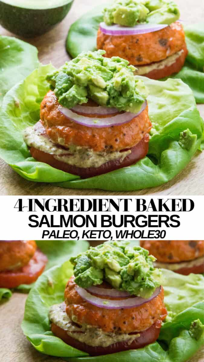 Easy 4-Ingredient Baked Salmon Burgers - paleo, keto, whole30, delicious!