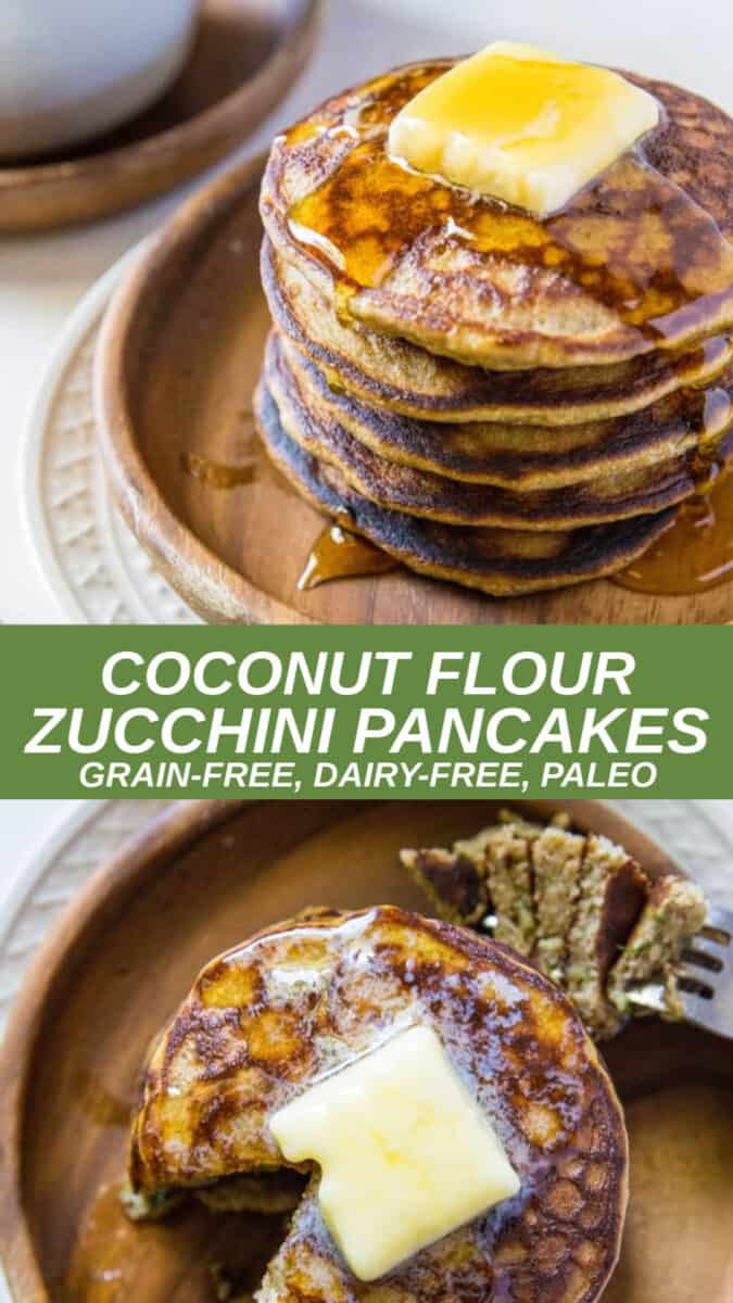 Coconut flour zucchini pancakes that are all-things fluffy, moist, and flavorful PLUS grain-free and healthy! This easy pancake recipe is made in a blender and makes for a delicious weekend breakfast or brunch.