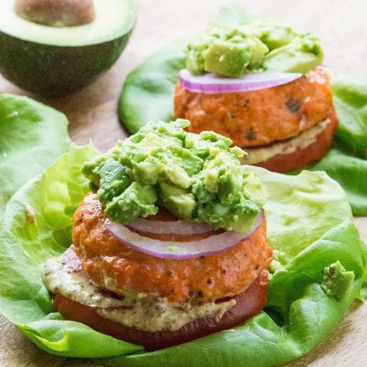Easy Baked Salmon Burgers - gluten-free, low-carb, paleo, whole30, keto, delicious | TheRoastedRoot.net