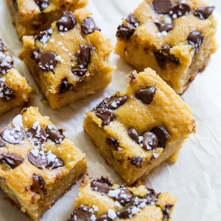 Garbanzo Bean Blondies - a cookie bar made with beans! Grain-free, refined sugar-free, vegan, healthy, and delicious   TheRoastedRoot.net