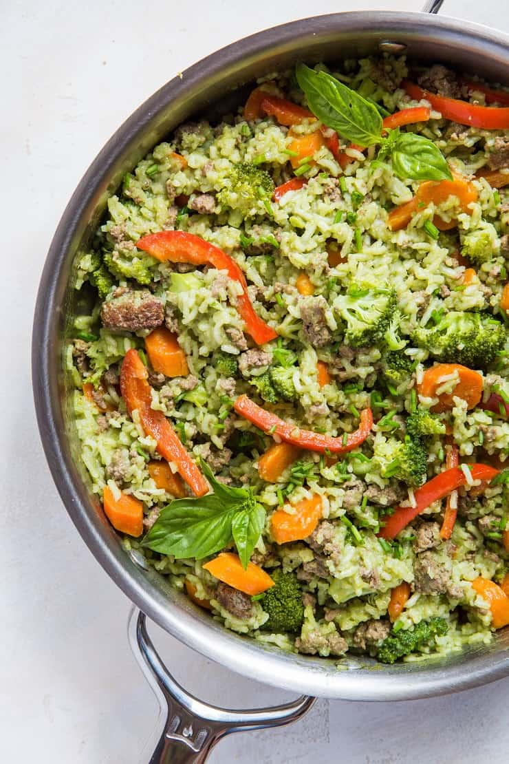Basil Coconut Ground Beef Skillet with broccoli, carrots, and bell pepper - an easy on-pot meal that is filling and delicious! | TheRoastedRoot.net